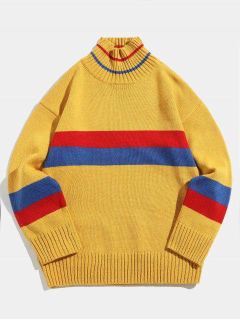 fancy Color Block Striped Knit Turtleneck Sweater - YELLOW XL Mobile