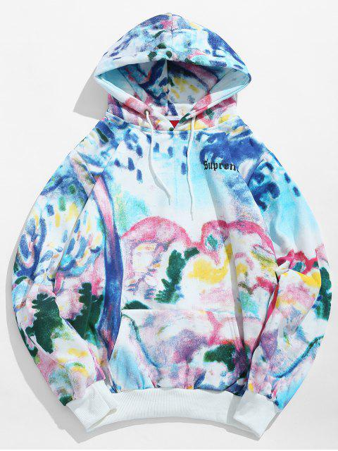 women Colorful Painting Printed Fleece Hoodie - LIGHT SKY BLUE XL Mobile