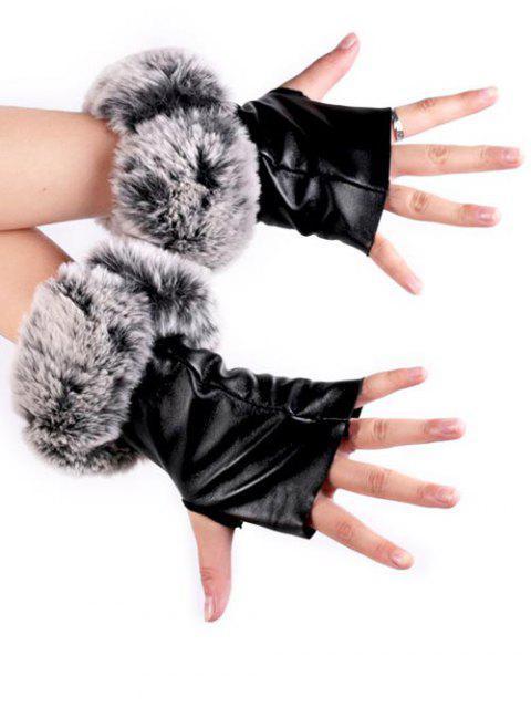 latest Faux Fur Fingerless Gloves - BLACK  Mobile