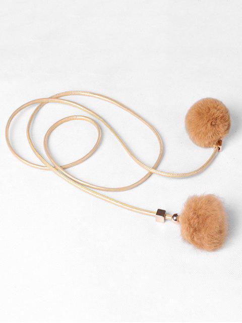 chic Fuzzy Balls Decorative Faux Leather Belt - CINNAMON  Mobile