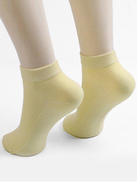 unique Solid Color Ankle Socks - LEMON CHIFFON  Mobile