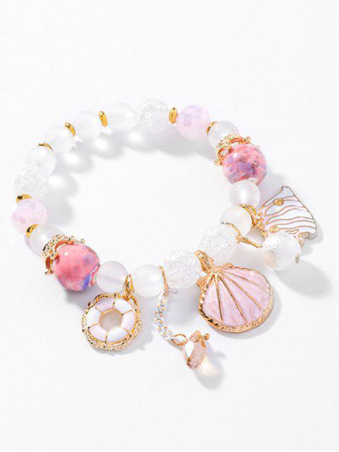 chic Faux Crystal Fish Shape Beaded Bracelet - PINK  Mobile