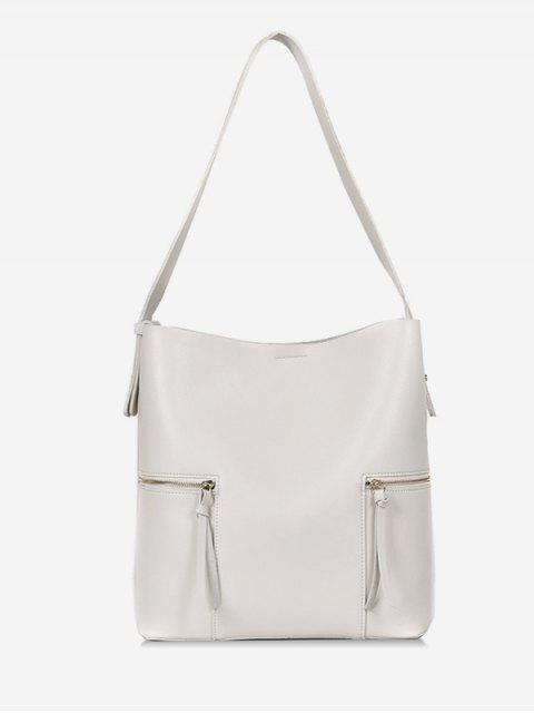 women 2Pcs Magnet Hook PU Leather Shoulder Bag - WHITE  Mobile