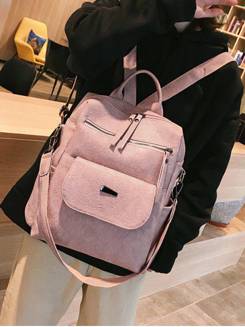 sale Solid Color Design PU School Backpack - LIGHT PINK  Mobile
