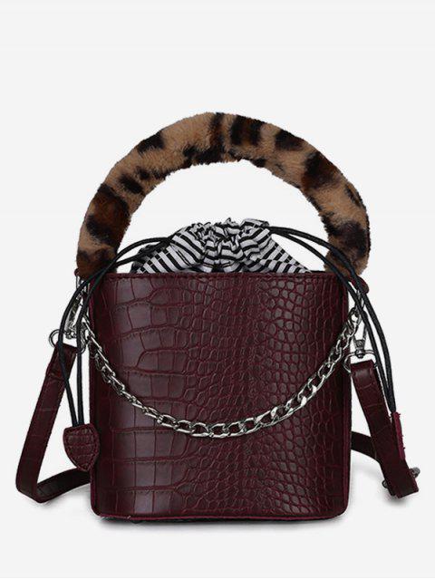 women's Mini Leopard Pattern Bucket Tote Bag - RED WINE  Mobile
