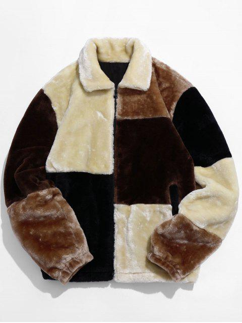 outfit ZAFUL Color Block Faux Fur Jacket - MULTI-A L Mobile