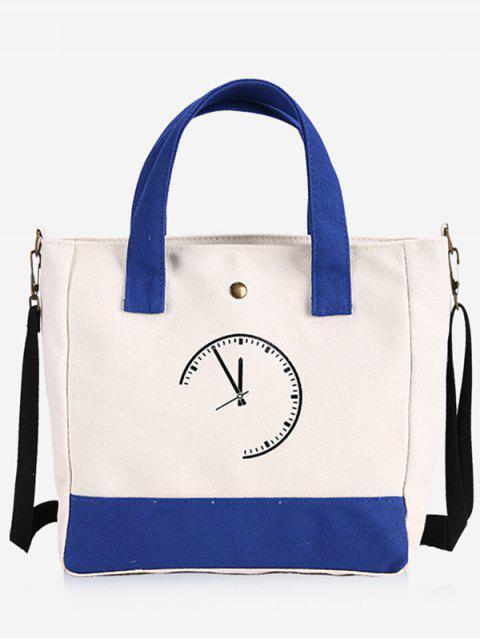 womens Clock Pattern Canvas Handbag - BLUE  Mobile