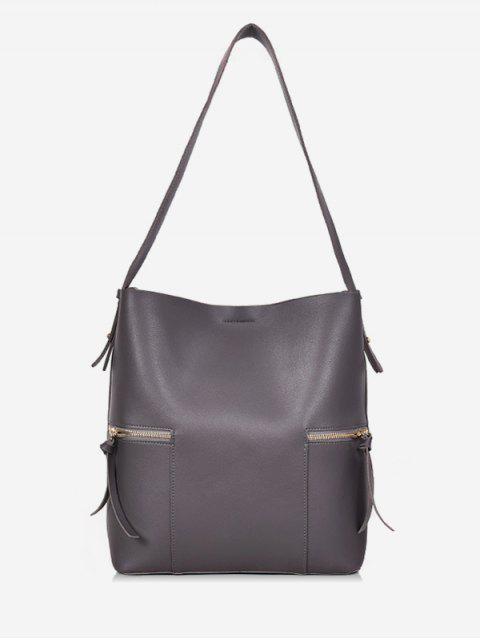 fancy 2Pcs Magnet Hook PU Leather Shoulder Bag - GRAY  Mobile