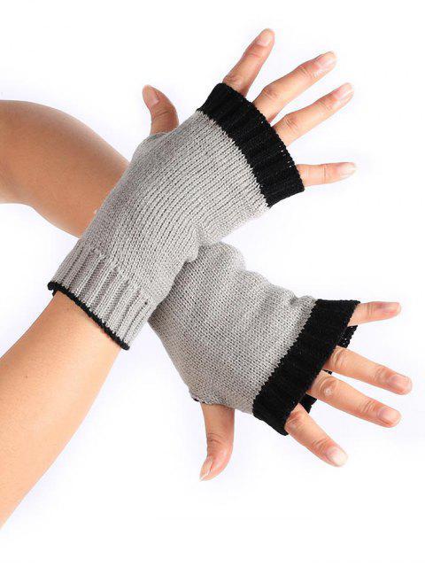 shops Color Block Fingerless Gloves - GRAY CLOUD  Mobile