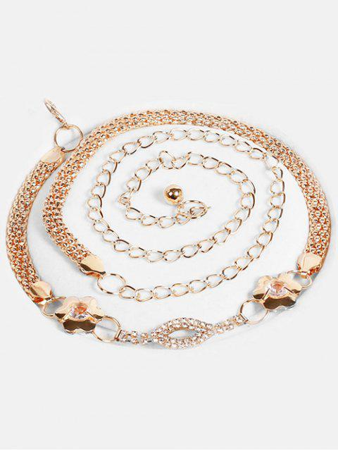 trendy Rhinestone Lip Floral Alloy Dress Belt - GOLD  Mobile