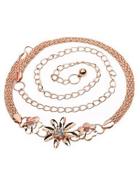 womens Vintage Rhinestone Floral Alloy Chain Belt - GOLD  Mobile