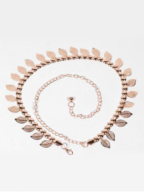 outfit Vintage Metal Leaves Decorative Chain Belt - GOLD  Mobile