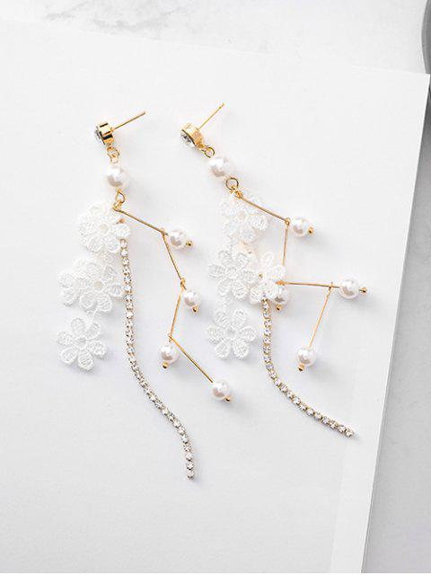 buy Faux Pearl Decor Lace Floral Drop Earrings - WHITE  Mobile