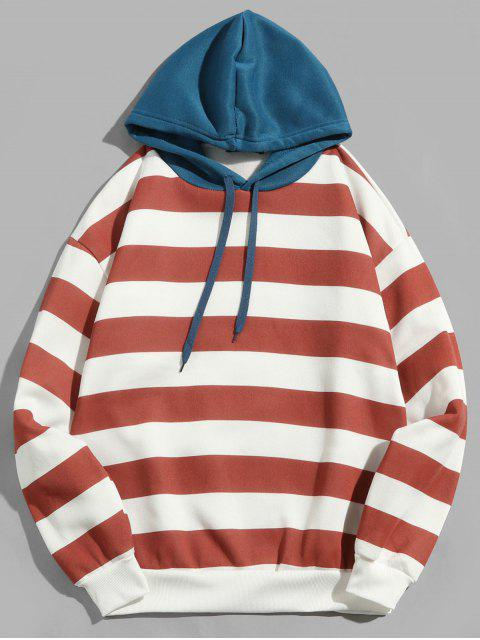 lady Contrast Striped Print Fleece Hoodie - CHERRY RED L Mobile