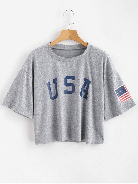women's ZAFUL American Flag Print Tee - GRAY GOOSE M Mobile