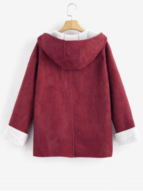 Manteau à Capuche Peau de Mouton à Manches à Rebords - Rouge XL Mobile