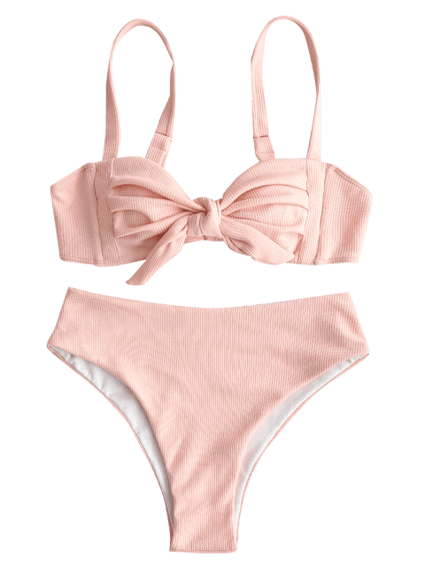 shop ZAFUL Tie Pleated Ribbed Bikini Set - PIG PINK M Mobile