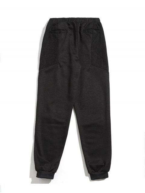 Pantalon de Jogging en Maille Jointif à Cordon - Noir XL Mobile