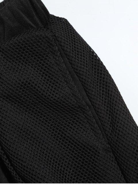 ladies Drawstring Mesh Spliced Jogger Pants - BLACK 2XL Mobile