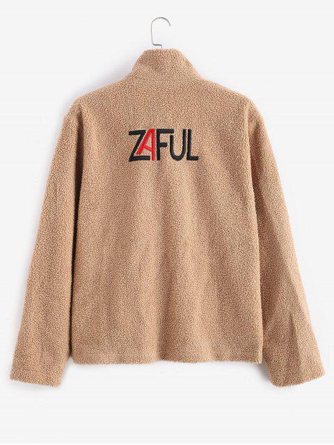 new ZAFUL Letter Embroider Fluffy Faux Fur Zipper Coat - TAN 2XL Mobile