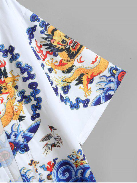 online Dragon Print Kimono Cardigan - WHITE M Mobile