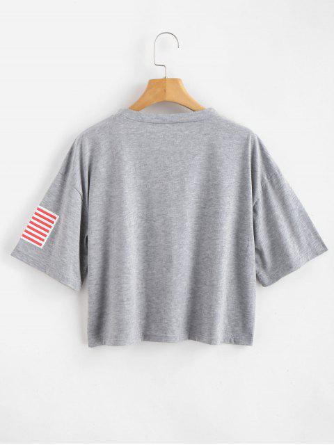 ladies ZAFUL American Flag Graphic Tee - GRAY GOOSE L Mobile