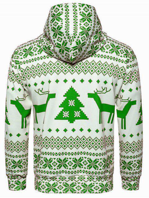 Hooded Christmas Snowflake Geometric Print Hoodie - Amarillo Verde M Mobile