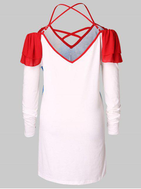 affordable Plus Size Cold Shoulder Santa Claus Print Christmas T-shirt - RED 4X Mobile