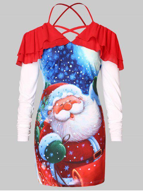 buy Plus Size Cold Shoulder Santa Claus Print Christmas T-shirt - RED 3X Mobile