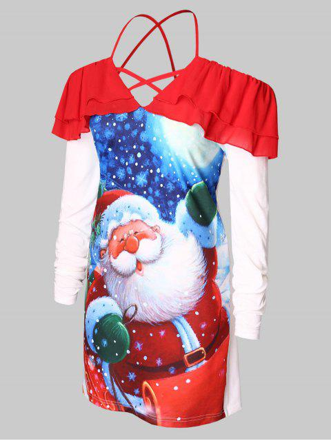 best Plus Size Cold Shoulder Santa Claus Print Christmas T-shirt - RED L Mobile