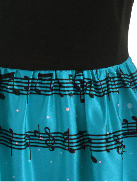 Christmas Musical Notes and Cats Flare Dress - 海藍色 S Mobile