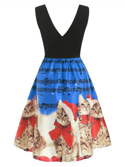 Christmas Musical Notes and Cats Flare Dress - 蔚藍的 2XL Mobile