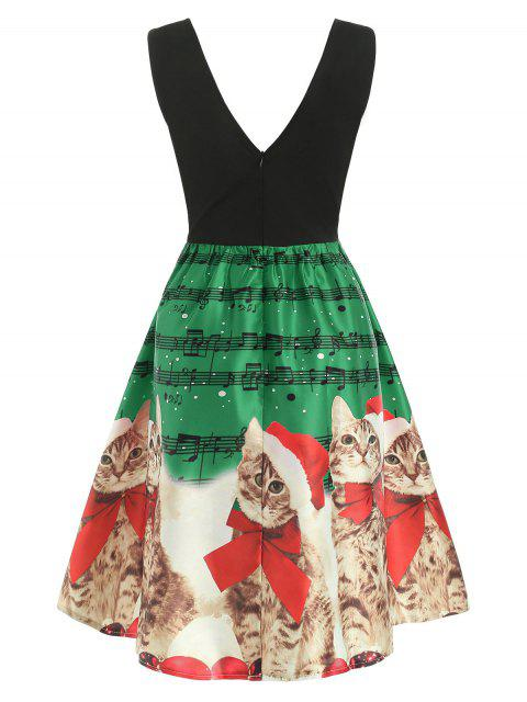 Christmas Musical Notes and Cats Flare Dress - 深綠色 S Mobile