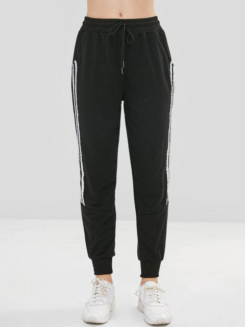 shop Drawstring Contrast Trim Jogger Pants - BLACK S Mobile