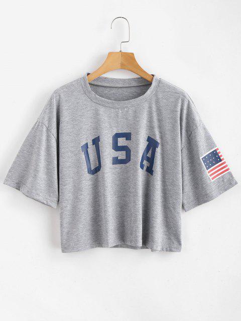 ZAFUL Camiseta conEstampadode Bandera Americana - Ganso Gris L Mobile