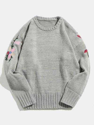 Flower Embroidered Knitted Sweater - Gray L 63e3b4b3d