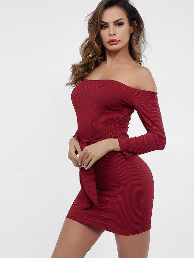 8395c7a6f98 ... Off Shoulder Knotted Plain Knit Dress - Red Wine M