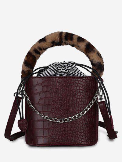39c2176609 Mini Leopard Pattern Bucket Tote Bag - Red Wine ...