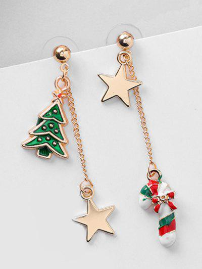 Asymmetric Christmas Tree And Star Earrings - Red