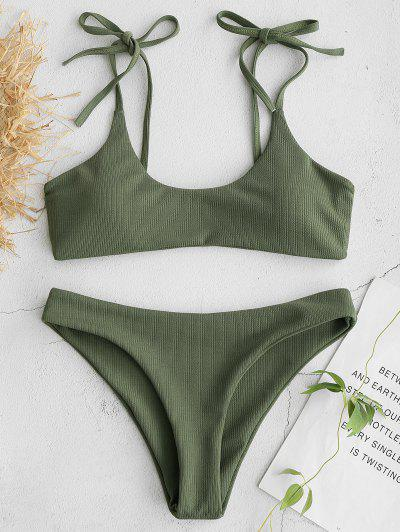 ZAFUL Tie Shoulders Ribbed Bikini - Camouflage Green M