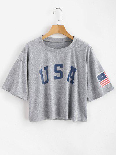 ZAFUL American Flag Graphic Tee - Gray Goose L
