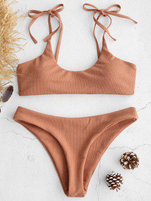 ZAFUL Tie Shoulders Ribbed Bikini - Dark Salmon M