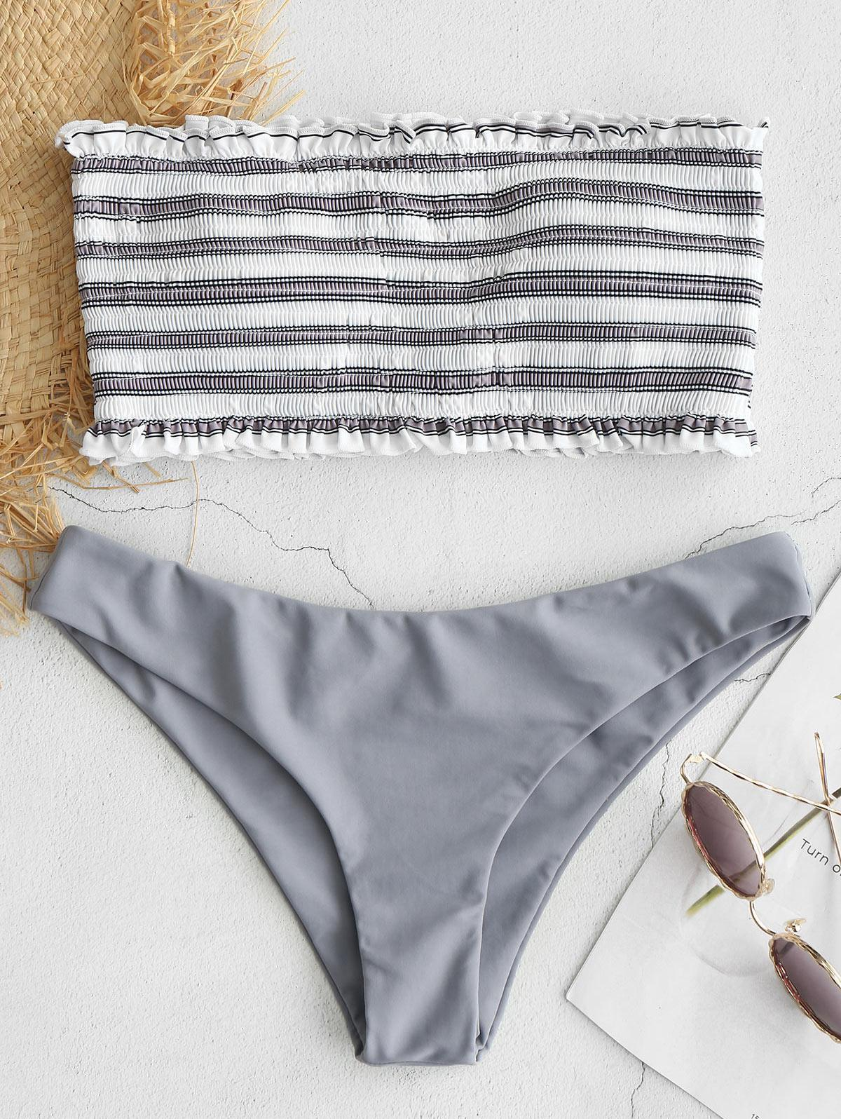 ZAFUL Stripe Smocked Bandeau Bikini Set, Gray cloud