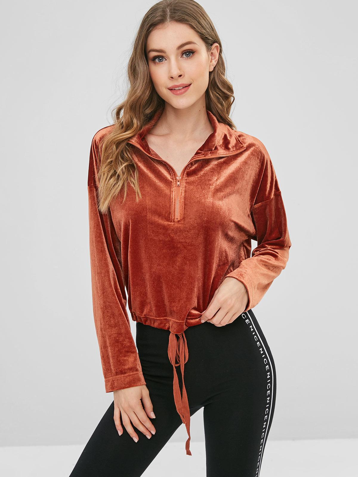 ZAFUL Velvet Half Zip Drawstring Sweatshirt, Brown