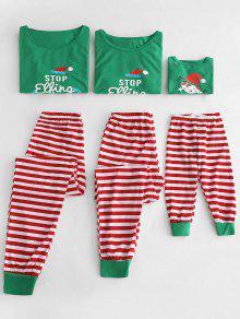مجموعة البيجامات مخطط الجرافيك الأسرة عيد الميلاد - البرسيم الأخضر أبي ل