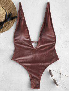 ZAFUL Plunge فيلفيت قطعة واحدة ملابس السباحة - روزي فينش L