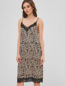 810e8c8211a8 23% OFF] 2019 Leopard Lace Insert Cami Dress In LEOPARD   ZAFUL
