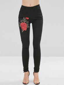 جينز مطرز بزهور مطرزة - أسود M