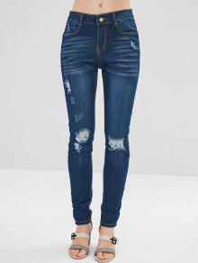 جينز بنمط ممزق - الدينيم الأزرق الداكن L