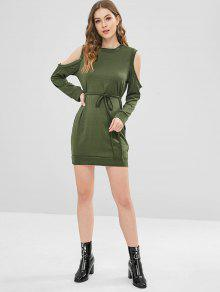 236d7b01b8a9c0 35% OFF  2019 Long Sleeve Cold Shoulder Tee Dress In ARMY GREEN
